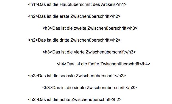 seo text struktur html strukturierung beispiel