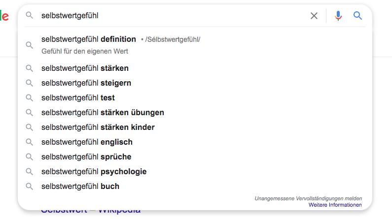 Suggestions Nebenkeywords Suchzeile Google