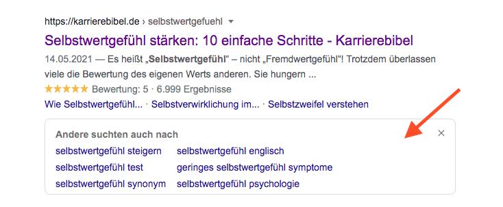 Suggestions unter dem Suchergebnis
