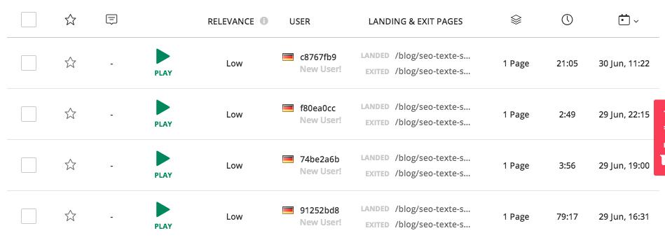 Hotjar SEO Tool für die Analyse des Nutzerverhaltens