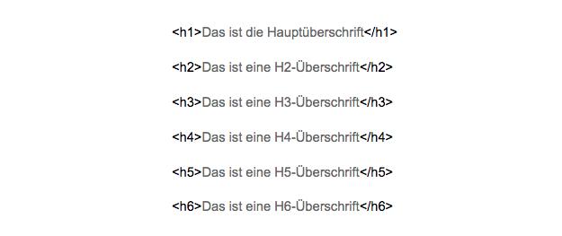 HTML Überschriften