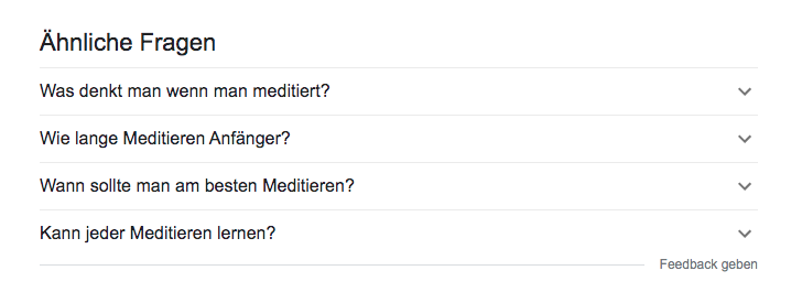 Google Suchergebnisse, Feature: Ähnliche Fragen