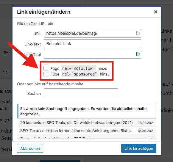 Link-Attribute in WordPress einstellen