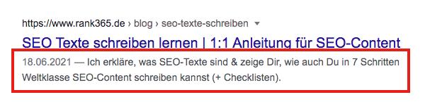 Meta-Beschreibung / Meta-Description in den Google Suchergebnissen