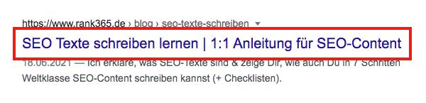 Seitentitel, SEO-Titel, Title-Tag, in den Google Suchergebnissen