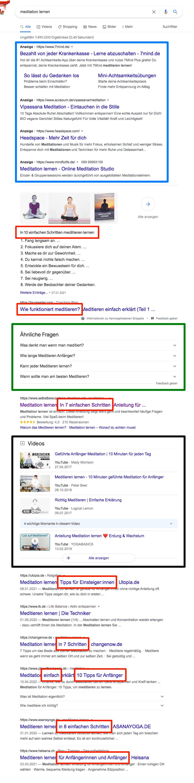 Google Suchergebnisse, Suchintention analysieren