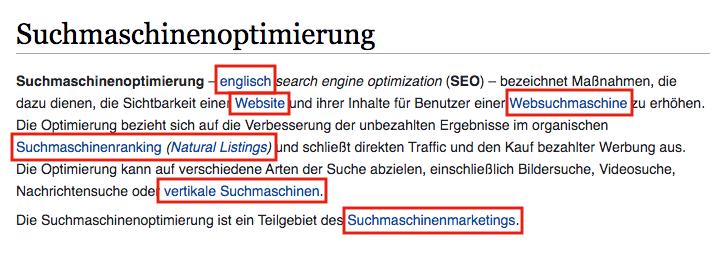 interne Links, Beispiel: Wikipedia