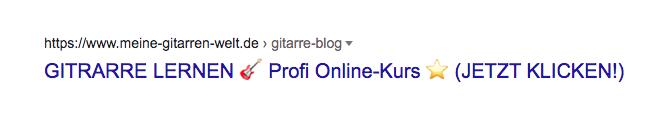 Beispiel für einen neutralen Seitentitel (marktschreierisch, sehr auffällig, animiert zum Klicken)