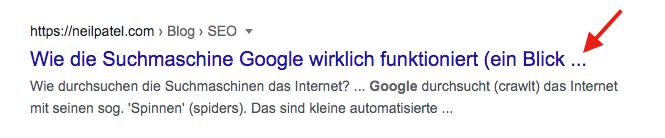 Seitentitel Beispiel: Titel zu lang, wird in den Suchergebnissen abgeschnitten