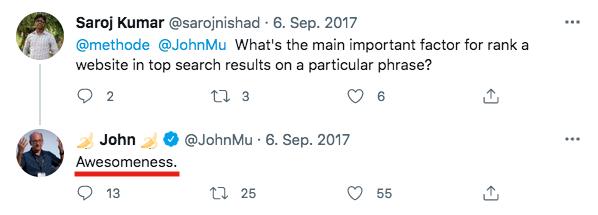 Twitter Post von @johnmu