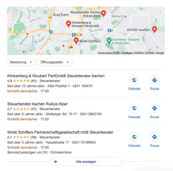 Google Local Pack, lokale Suchanfragen