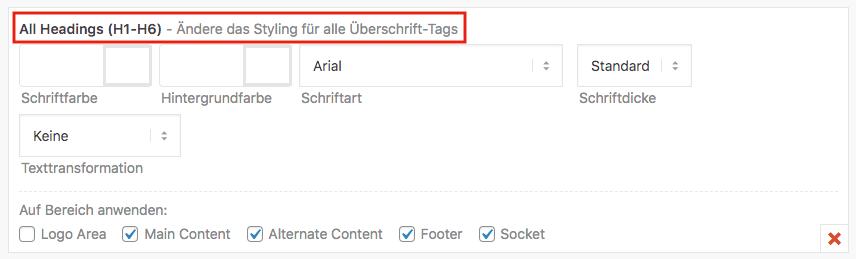 WordPress Überschriften anpassen, Drittanbieter Theme